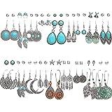 36 Pairs Boho Vintage Simulated Turquoise Drop Dangle Earrings Set for Women Girls, Bohemian Western Earrings Pack, Fashion H