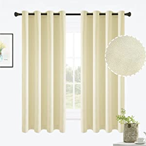 ALLJOY Solid Color Curtains 63 Inch Long 2 Panels Thermal Insulated Drapes, Grommet Noise Reducing Window Curtains for Living Room, Soft Linen Light Filtering Draperies for Bedroom, W52, Cream Yellow
