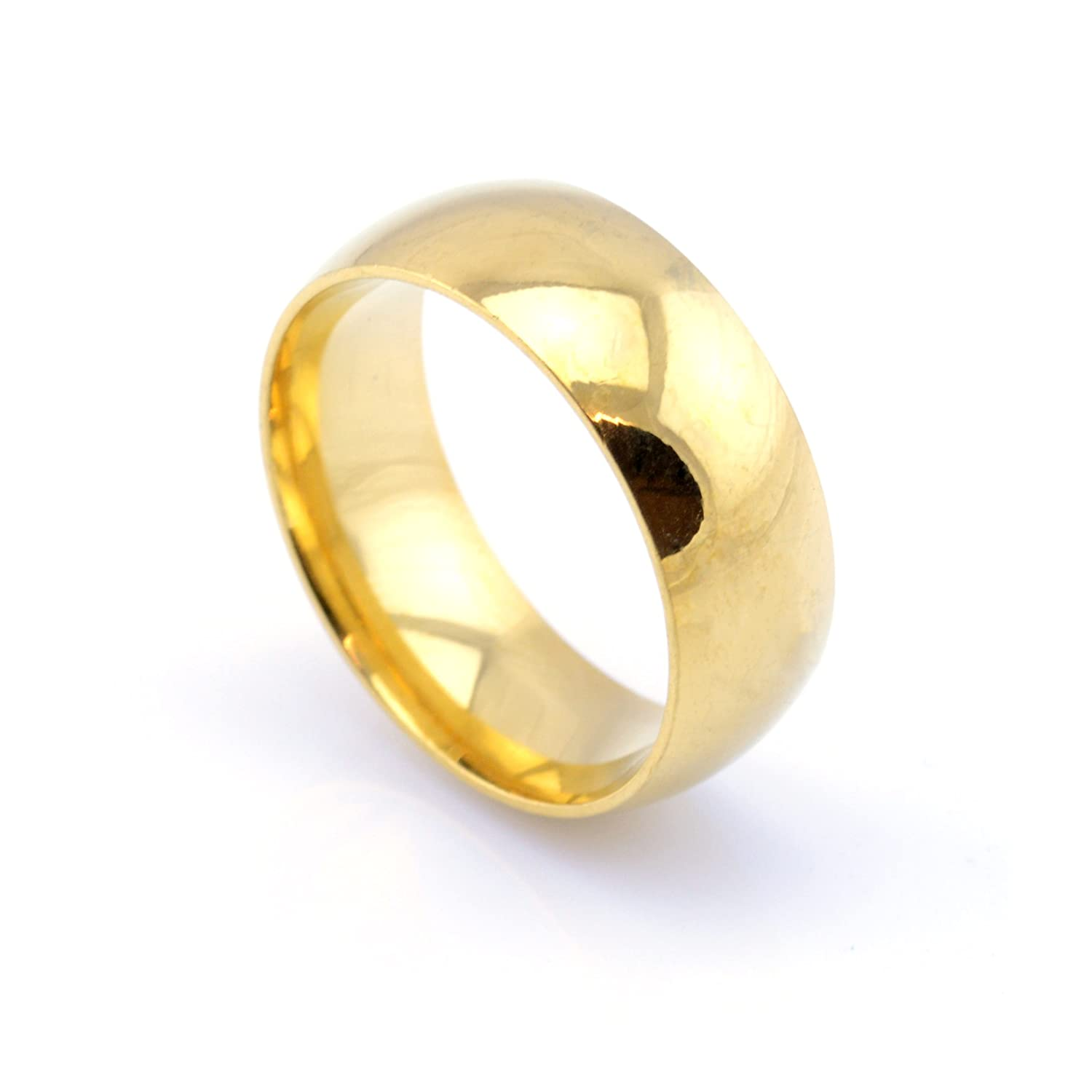 Vault 101 Limited 18k Gold Plated Mens Womens Stainless Steel Wedding Band Ring 8mm Wide