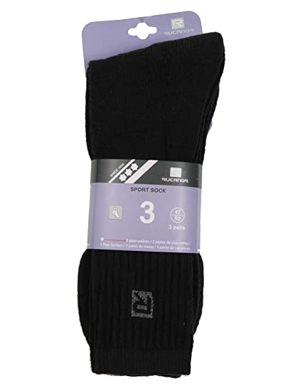 RUCANOR Black Sports Socks 3 Pack