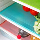 Aiosscd 7 PCS Shelf Mats Antibacterial Antifouling Refrigerator Liners Washable Can Be Cut Refrigerator Pads Fridge Mats Drawer Table Placemats(2 green+2 pink+3blue)