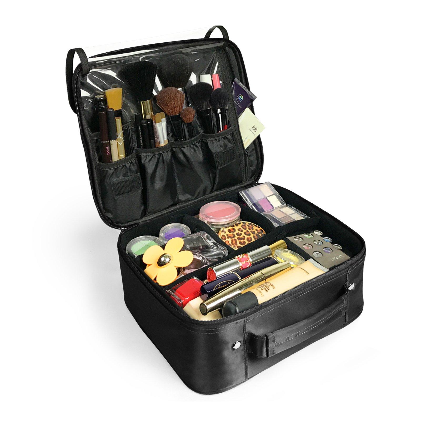 Becko Black Portable Travel Cosmetic Makeup Bag / Toiletry bag (Black)