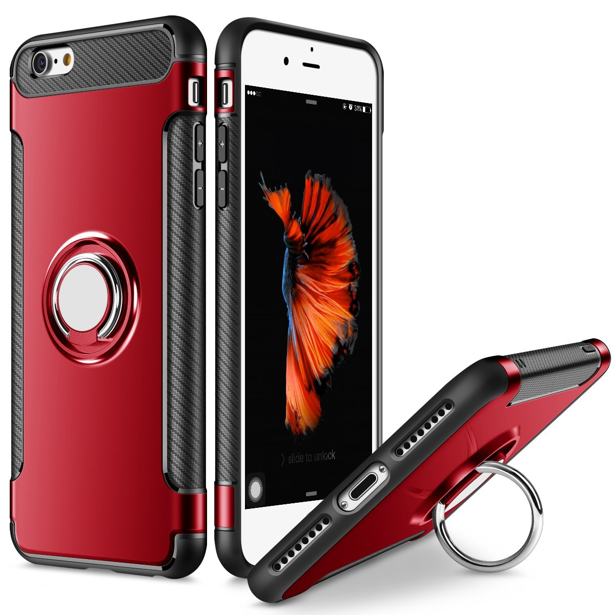 SAMONPOW Hybrid Slim Fit Dual Layer Armor iPhone 7 Plus Case Shock Absorption Rugged Defence with Ring Holder Kickstand Drop Protection Cover Soft Rubber Bumper Case for iPhone 7 Plus - Red