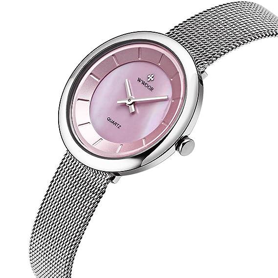Wwoor Ladies Simple Casual Quartz Watch 2 Pointer Steel Mesh Strap Ultra-thin Watch WR