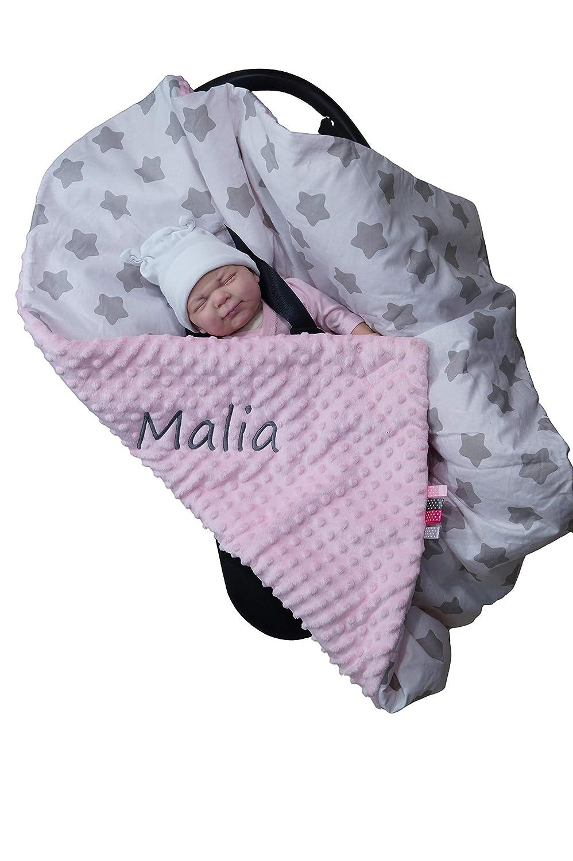 EINSCHLAGDECKE 90x90 cm M/äuse - Hellrosa Babydecke f/ür Babyschale Baumwolle Zweilagige Decke mit Namen