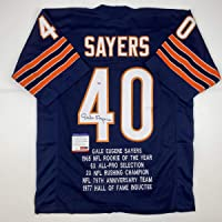 Autographed/Signed Gale Sayers Chicago Blue Stat Football Jersey PSA/DNA COA