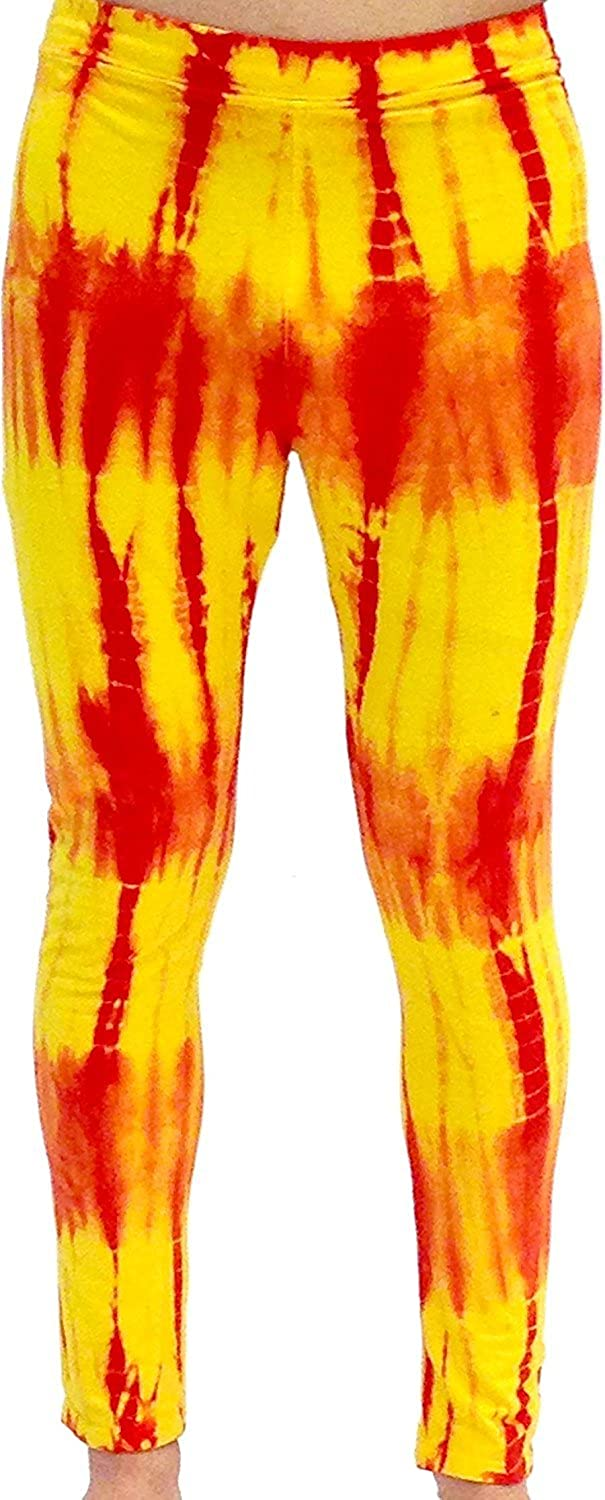 Rot and Gelb Tie-Dye Wrestling Legging Tights Pants