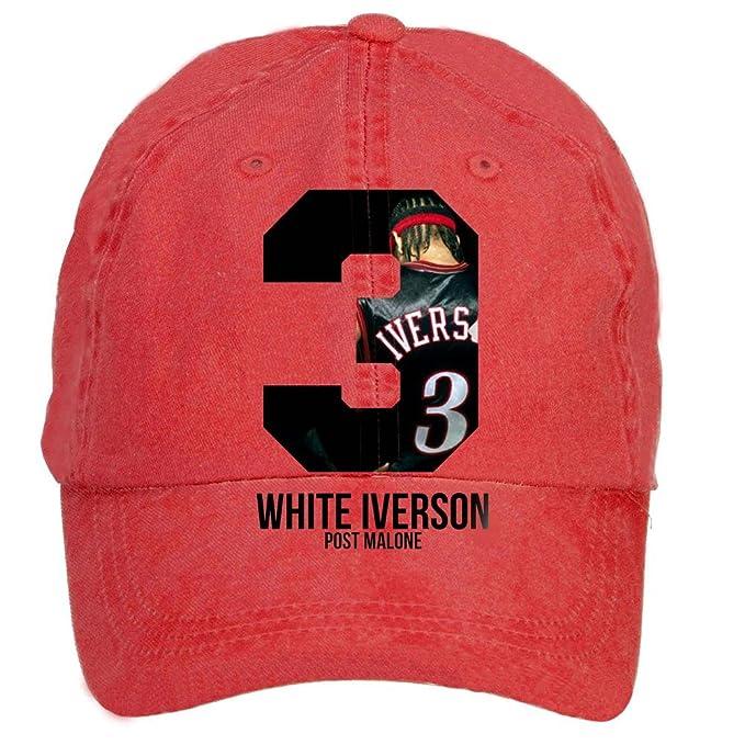0f8ac0b37ca NDWOIJ Man Post Malone White Iverson Flat Cap Red  Amazon.ca ...