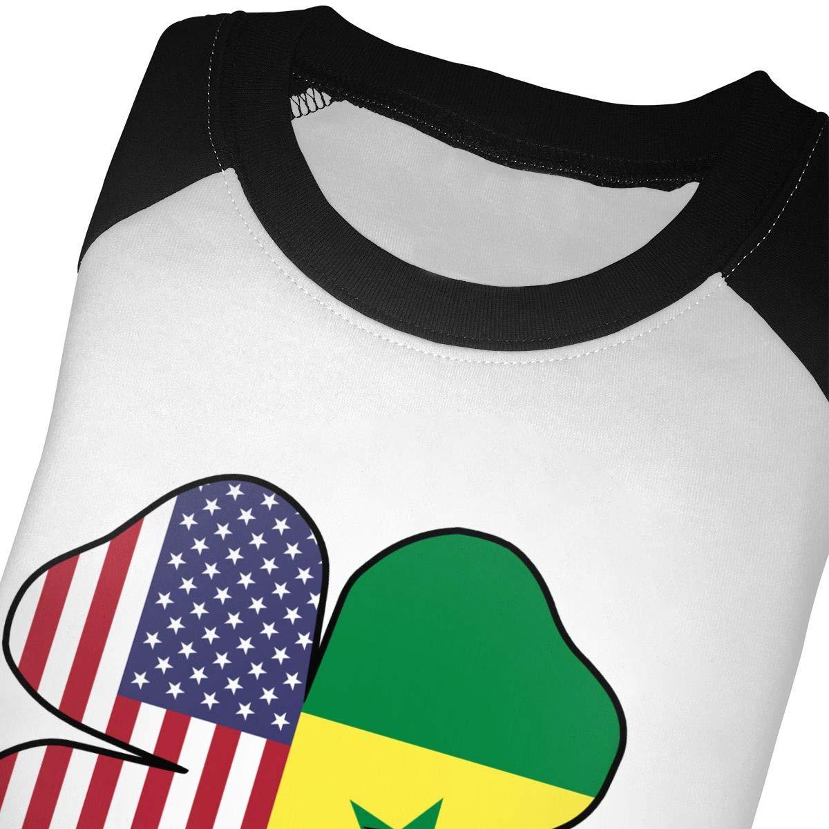 QPKMRTZTX0 Boys Girls Kids /& Toddler American Senegal Flag Shamrock Long Sleeve T-Shirt 100/% Cotton