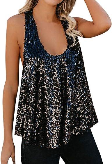 Lenfesh Camiseta Sin Mangas con Lentejuelas para Mujer Sueltas Tank Tops Blusa Chaleco: Amazon.es: Ropa y accesorios