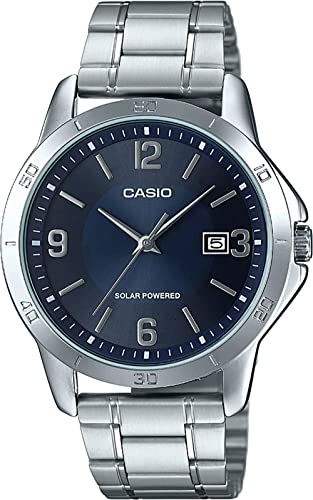2dcb2e3db4a0 Amazon.com  Casio MTP-VS02D-2A Men s Standard Solar Stainless Steel Blue  Dial Date Watch  Watches