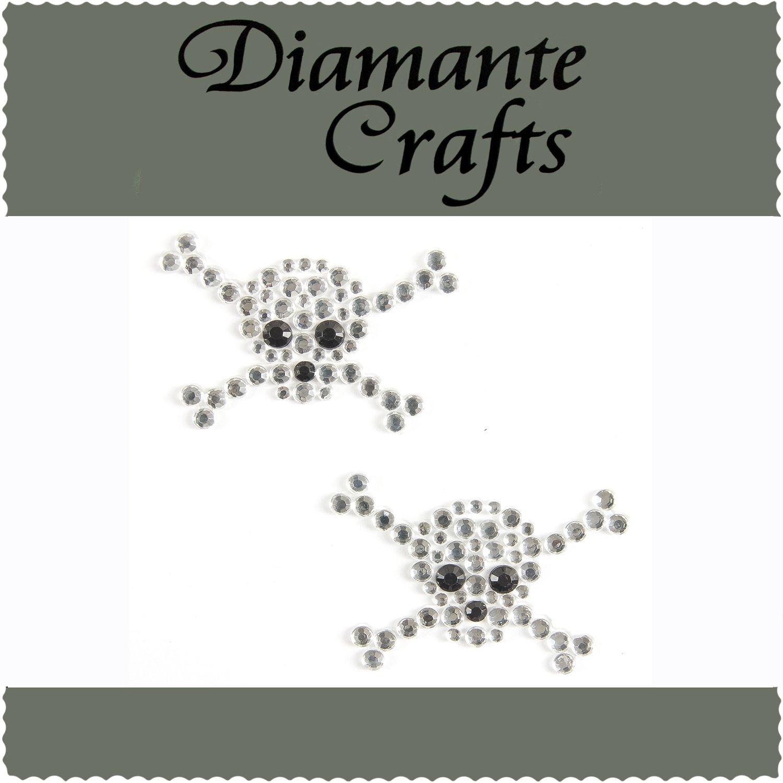2 Clear Black Skull & Crossbones Diamante Vajazzle Rhinestone Gems - created exclusively for Diamante Crafts