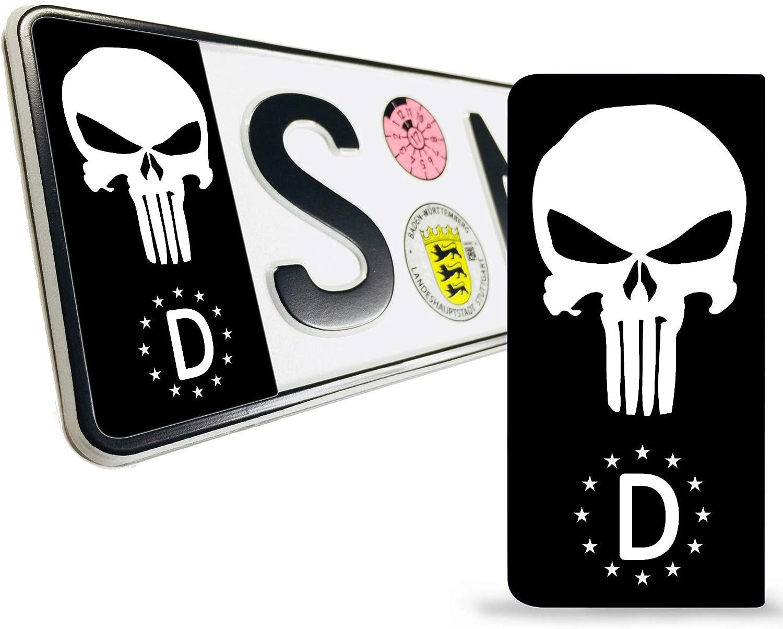 Skinoeu 2 X Vinyl Aufkleber Nummernschild Kennzeichen Jdm Tuning Auto Motorrad Punisher Schwarz Skull Scädel Totenkopf Stickers Eu Qv 34 Auto