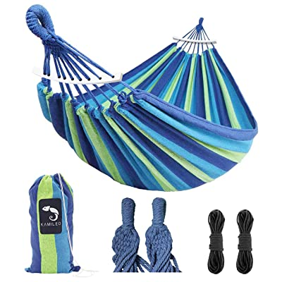 Hammock Camping Lightweight Portable Canvas Hammock Holds 450lbs Great for Indoor Outdoor Travel Hiking Beach Backpacking Garden Easy Assembly Soft and Comfortable Double Hammock for Men Women Kids: Kitchen & Dining