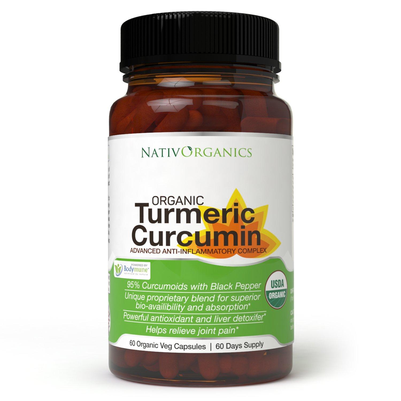 USDA Organic Turmeric Curcumin Supplement – 100% Vegan Organic Turmeric  Capsules With