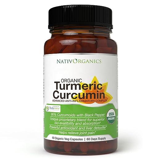 USDA Organic Turmeric Curcumin Supplement - 100% Vegan Organic Turmeric Capsules With Black Pepper Plus Ginger, Amla & Goji For Max Absorption - Highest Potency 95% Curcumoids - 60 Caps