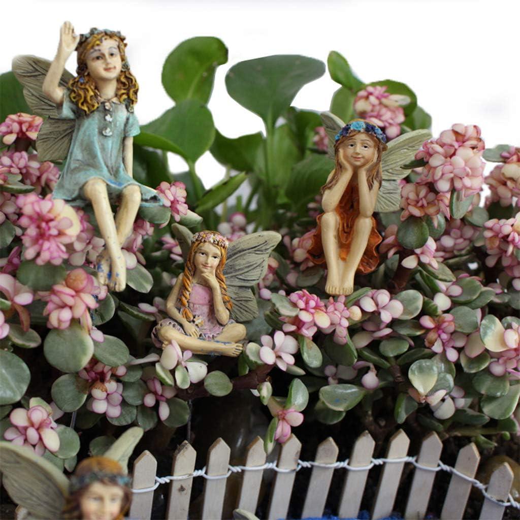 SUREH 6pcs Flower Pixie Fairy Miniature Figurine Plastic Mini Garden Fairy Figurine Statues Home Ornament Enchanted Fairy Figures Decoration