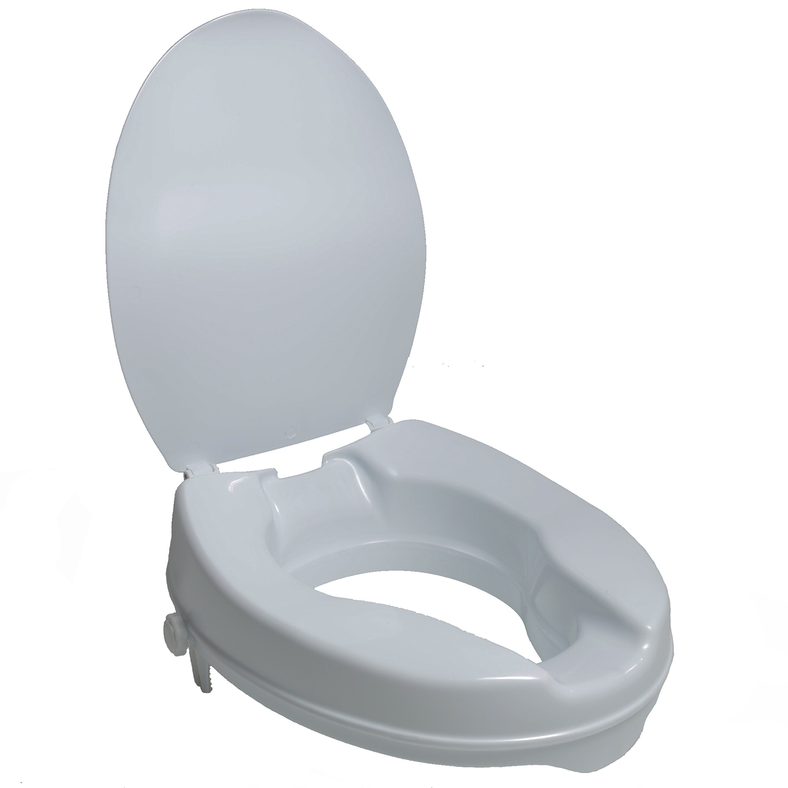 PCP 2-Inch Raised Standard Toilet Seat, Increase Height Over Commode, Low Profile Elevated, Includes Lid, Tightening Stability Safety Clamps by PCP