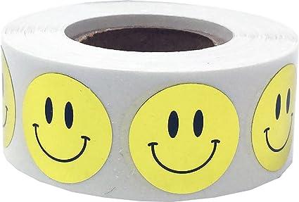 19 mm 3//4 Pollice Etichette Lucide 500 Pacchetto Argento Metallico Adesivi con la Faccia Felice Della Stella