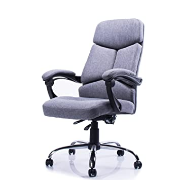 Highback Office Chair Fabric Swivel Chair Recliner Grey - Grey office chair