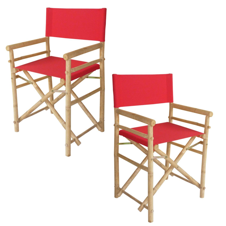ZEW - Silla de Director de bambú Plegable Hecha a Mano con ...
