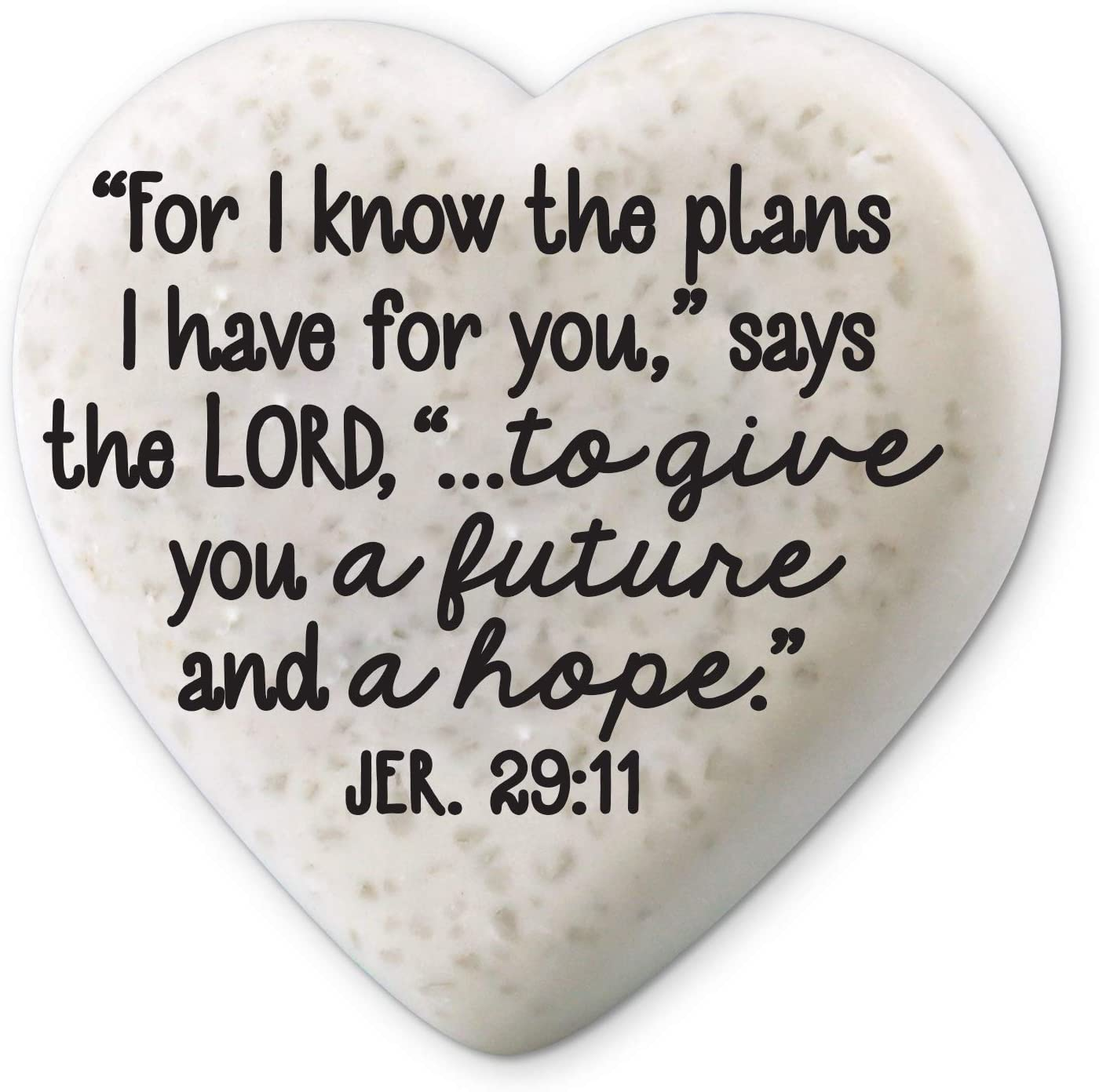 Lighthouse Christian Products Plans for Your Future Scripture Heart 2.25 x 2.25 Cast Stone Plaque