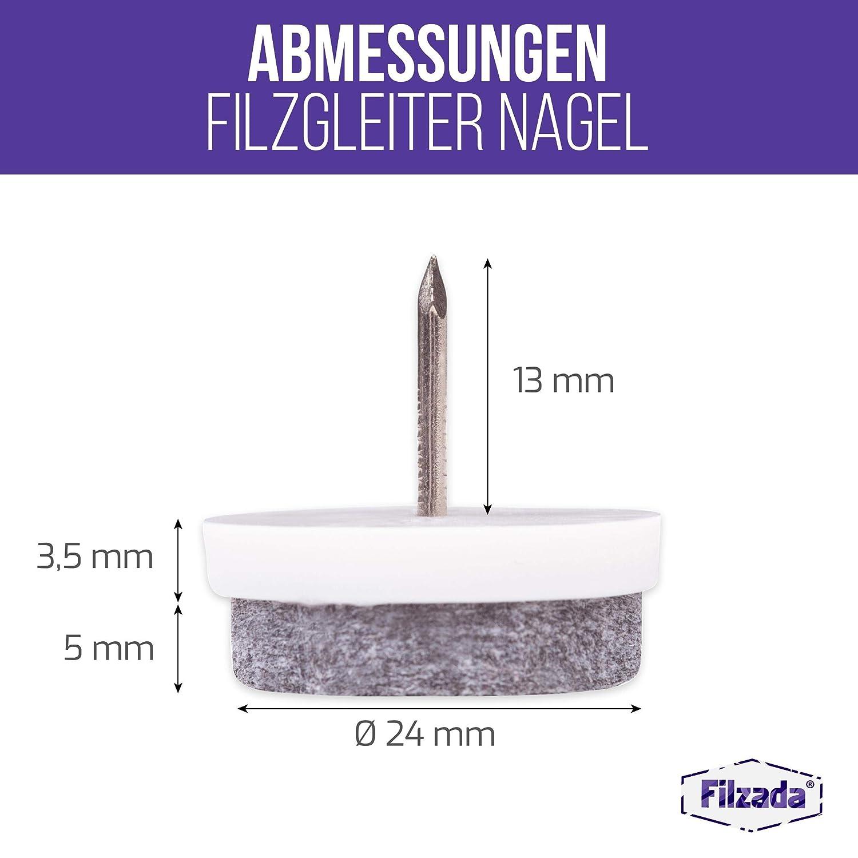 Filzada/® 100x Filzgleiter Nagel /Ø 24 mm - Profi M/öbelgleiter//Stuhlgleiter Filz zum Nageln wei/ß