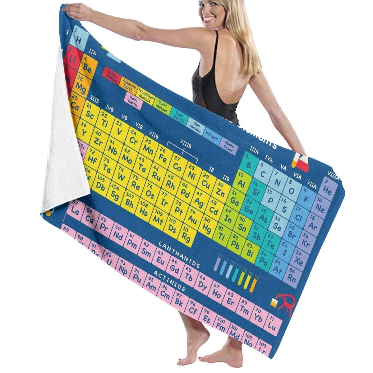 Haloxa Periodic Table of Chemical Element Adult Microfiber Beach Towel Large 31x51 inch Fast Dry Eco-Friendly Multipurpose Use Pareo for Women Men