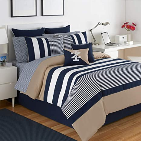 Amazoncom Osd 4pc White Navy Blue Beige Rugby Stripes Comforter