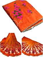 Orangesell Women's Mono net Embroidery work Saree With Blouse Piece ORANGE