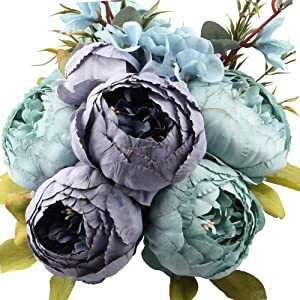 Leagel Fake Flowers Vintage Artificial Peony Silk Flowers Bouquet Wedding Home Decoration, Pack of 1 (Spring Blue)