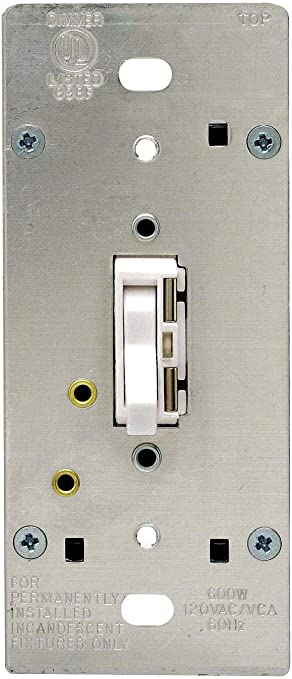 600W Leviton TGI06-1LW Toggle Dimmer Locator Light Toggle Touch White