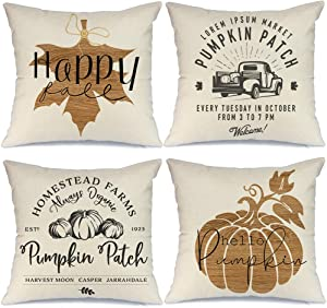 AENEY Fall Decor Pillow Covers 16x16 inch Set of 4 Pumpkin Patch Truck Maple Leaves Farmhouse Throw Pillows for Fall Thanksgiving Autumn Fall Decorations Pillows Cushion Cases for Sofa Couch 1005bz16