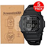 [5-Pack] for Casio GW-M5610 / GWM5610 Watch Screen Protector, Full Coverage Screen Protector Watch HD Clear Anti-Bubble and Anti-Scratch for GW-M5610 /G-5600 /GLS-5600