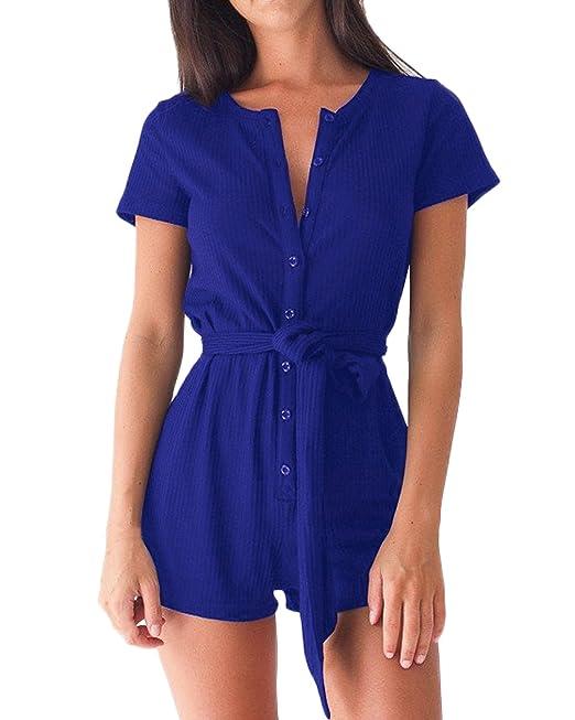 Auxo Vestidos Monos Mujer Manga Cortos Camisas Pantalones Cintura Alta Jumpsuit V Cuello Azul ES 42
