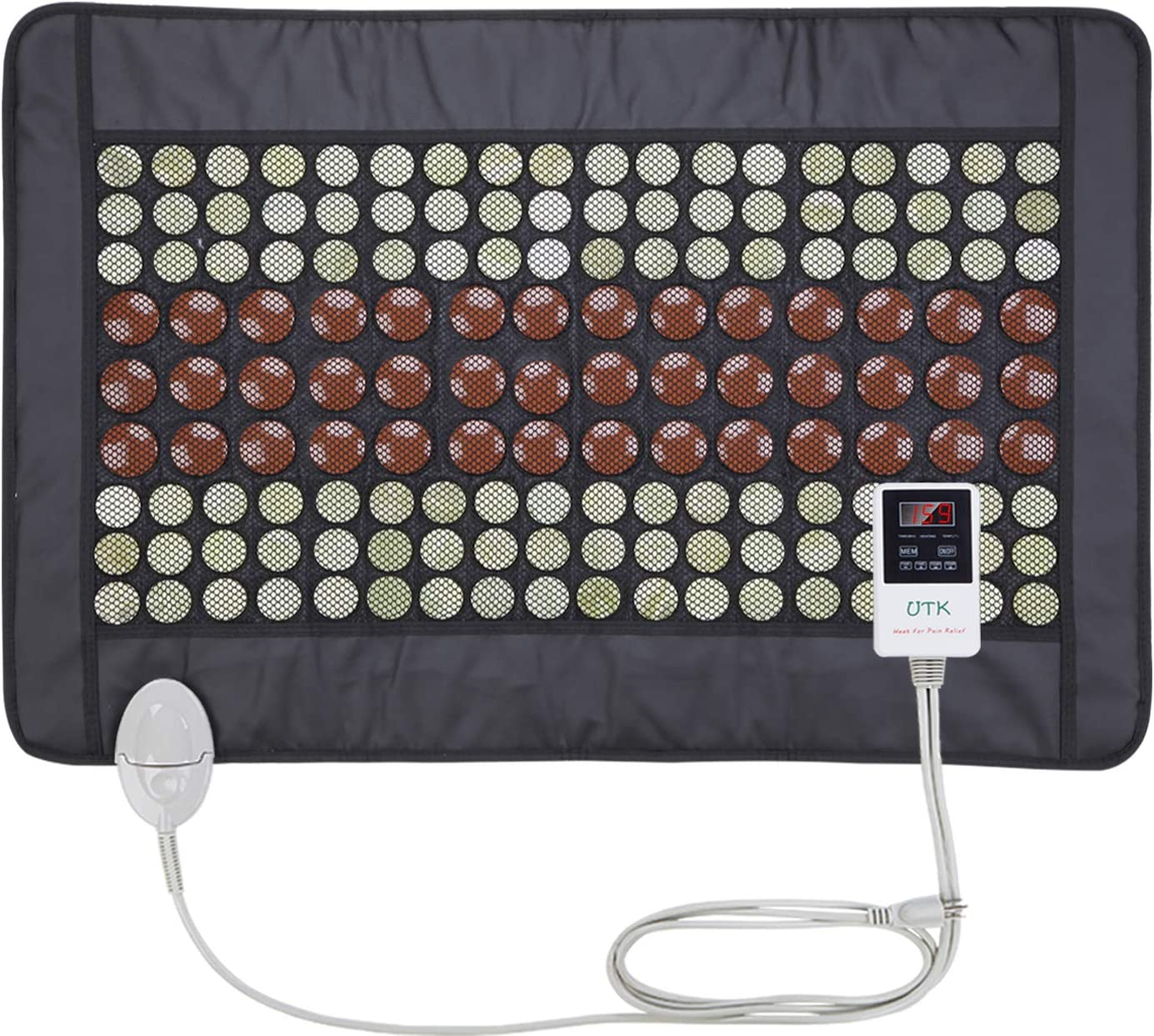 "UTK Far Infrared Heating Pad for Back Pain Neck Pain Cramps 21""x31"" [FSA or HSA Eligible] Dense 108 Jade and 42 Tourmaline Stones Matrix 150 Watt Fast Heat Up Storage Bag Included [Model Medium pro]"