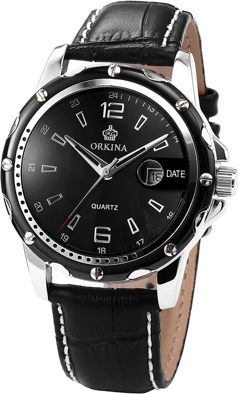 Orkina Fashion Mens Black Dial Leather Date Sport Quartz Wrist Watch Gift ORK053