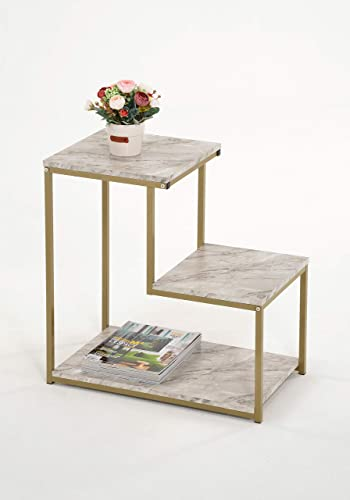 3-Tier Side End Table, Nightstand with Storage Shelf, Sturdy Metal Frame, Ladder-Shaped Chair Side Table, Gold with White Faux Marble Finish Tabletop Industrial Storage Shelf