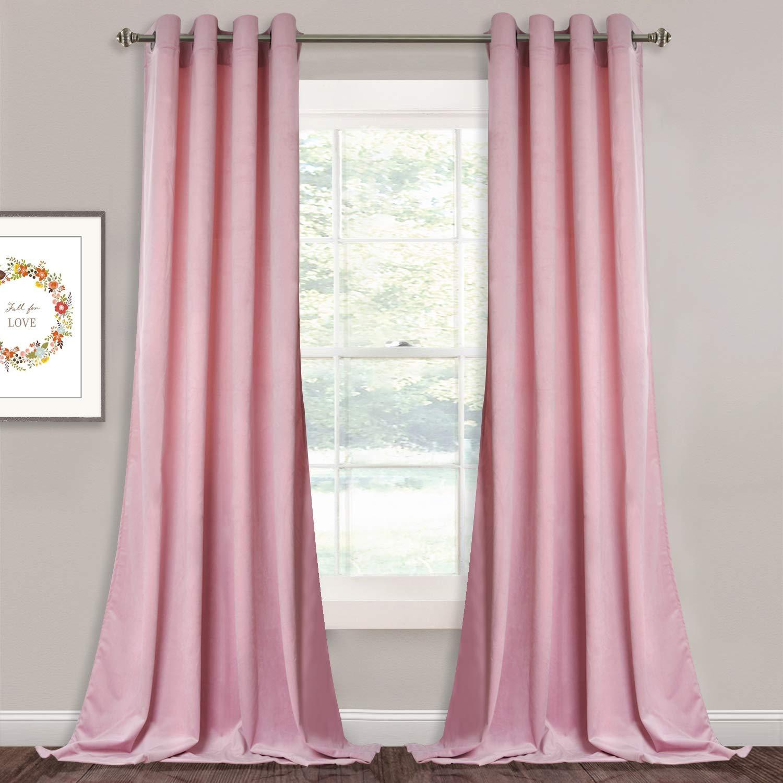 Amazoncom Pink Velvet Drapes For Kids Room Heavy Duty Thick