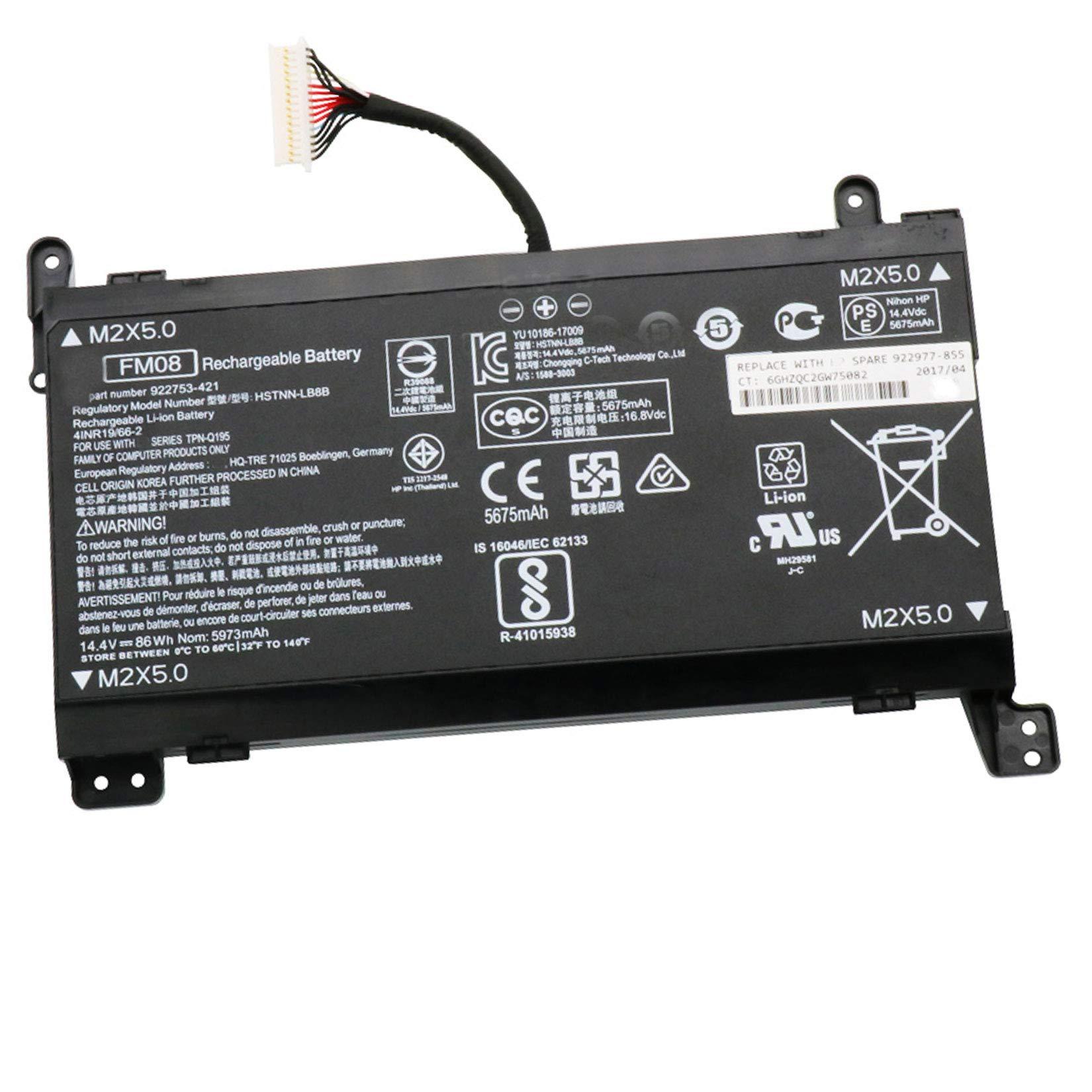 Dentsing Compatible Laptop Battery with HP FM08 (14.4V 86Wh/5973mAh) OMEN 17-AN013TX 17-AN014TX 17-AN014NG Series Notebook HSTNN-LB8B HSTNN-LB8A HQ-TRE TPN-Q195 922752-421 922753-421 922976-855
