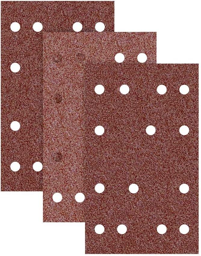 RETOL feuilles abrasives auto-agrippants ponceuses vibrantes Lot de 50 G80 133 x 80 mm p 14 trous corindon normal