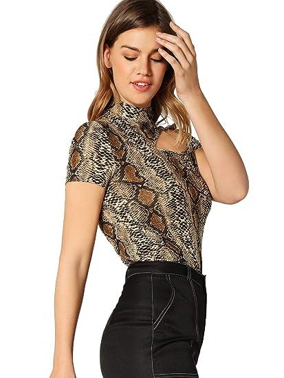 b11351f4d36 WDIRARA Women's One Shoulder Snakeskin Cutout Top Mock Neck Short Sleeve Tee  at Amazon Women's Clothing store: