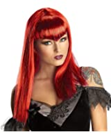 Red Glitter Vamp Wig Long Bangs Women Adult Costume Accessory Vampiress New