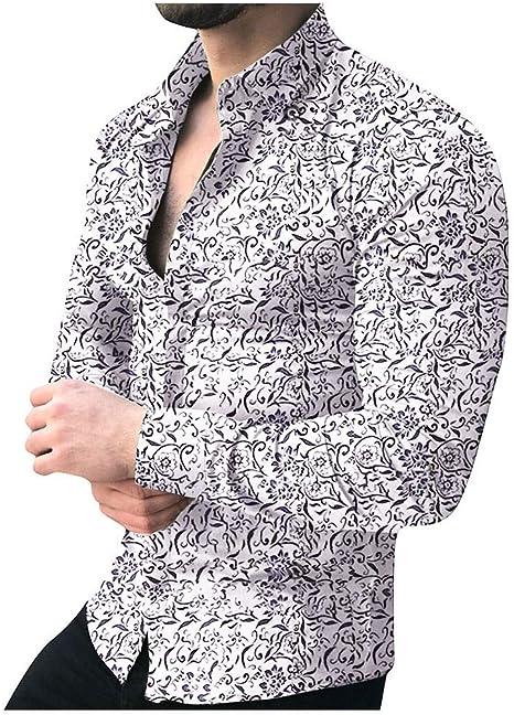 WUAI-Men Hipster Camisa de Vestir Floral, Manga Larga, Botones, para Hombre Grande, M-5XL: Amazon.es: Deportes y aire libre