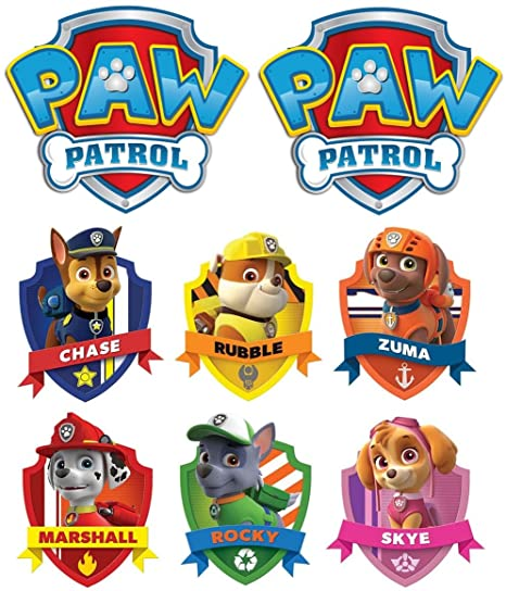 Paw Patrol Group Chase Marshall Rocky Rubble Skye Zuma For Light Colored Materials 8 Iron On Heat Transfers