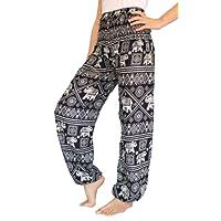 BANJAMATH Women's Smocked Waist Harem Hippie Trousers Boho Yoga Bohemian Pants