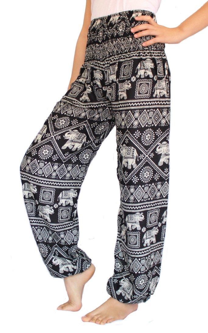 Banjamath®? Women's Smocked Waist Harem Hippie Boho Yoga Palazzo Casual Pants (L, Elephant Black)