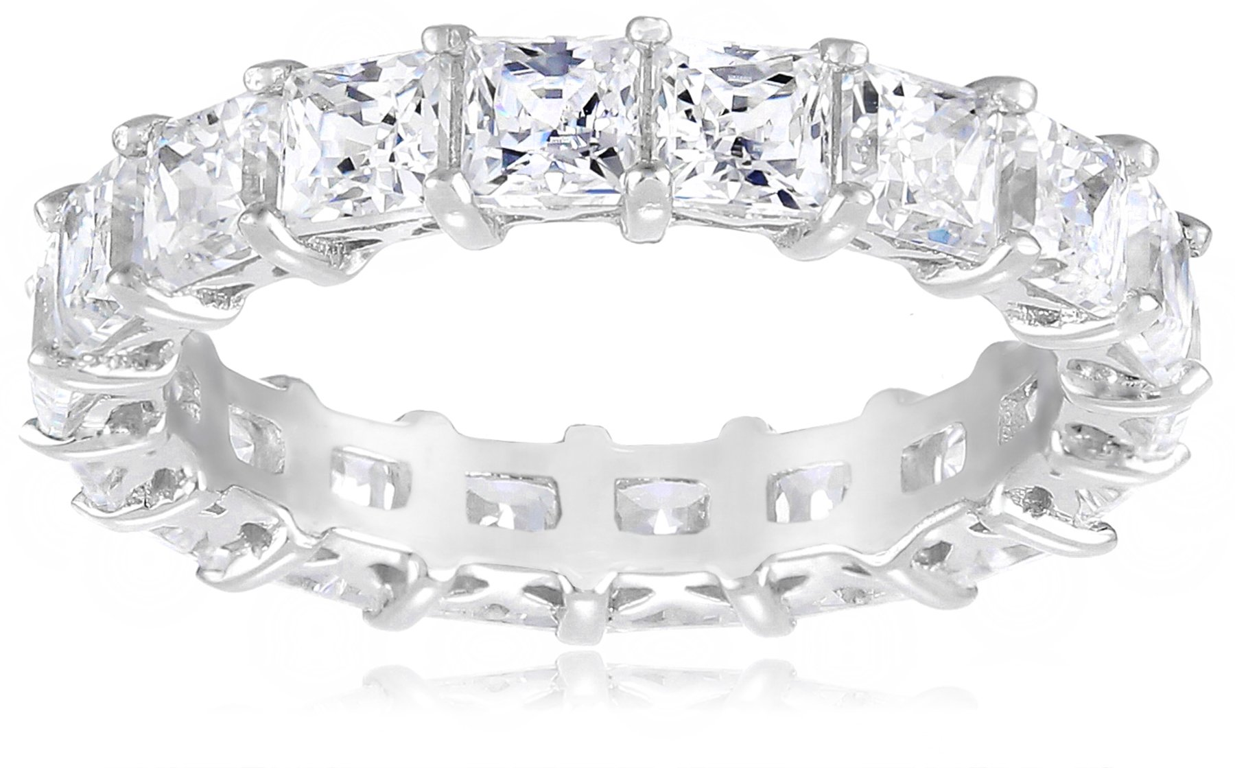 Platinum-Plated Sterling Silver Princess Cut All-Around Band Ring made with Swarovski Zirconia (7.5 cttw), Size 6