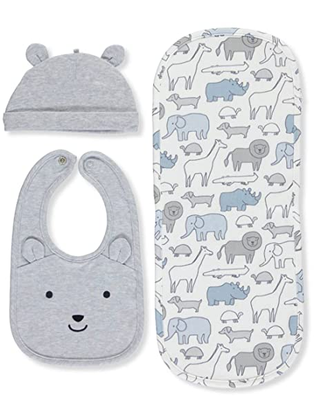 a0c0d43687f5 Amazon.com  Carter s Baby 3 Piece Hat and Bib Set One Size  Clothing