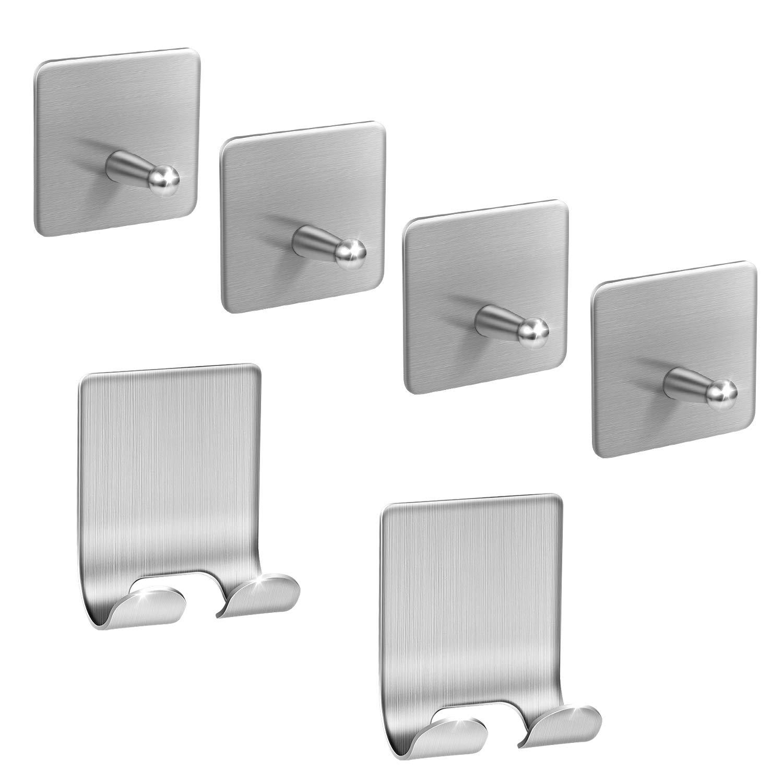 Adhesive Hooks,Stainless Steel Wall Hooks Hanger, 4 Key Hooks and 2 Plug Holder Hook|Double Hooks for Hanging Kitchen Bathroom Office
